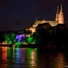 Basel Muenster and Chill-am-Rhy by night