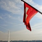 The Jet d'eau and the Swiss flag in Geneva